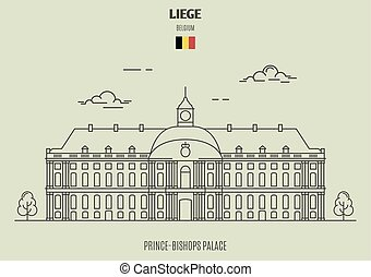 Prince-Bishops Palace in Liege, Belgium. Landmark icon in linear style