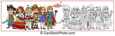 prince, costumes, coloration, caissier, étoilé, nuit, cow-boy, carnaval, couleur, fortune, pirate, page, esquissé, caractères, coccinelle, enfants