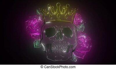 prince, couronne, laser, animation, crâne