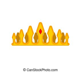 Prince Crown Isolated. Princess gold cap. Vector illustration