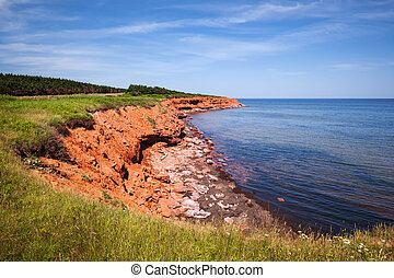 Prince Edward Island coastline - Red cliffs of Prince Edward...