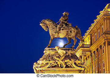 Prince Eugene of Savoy Statue at Night