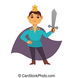 Prince fairytale cartoon character, brave medieval hero with weapon