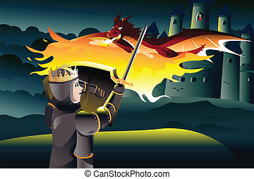 A vector illustration of a classic children tale of a prince trying to rescue a princess trapped in a tower of a castle guarded by a dragon