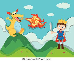 Prince fighting with the dragon