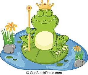 Prince frog cartoon sitting on a le