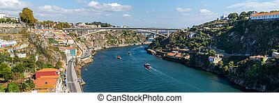 Prince Henry Bridge or Ponte do Infante D. Henrique over Douro Rive between cities of Porto and Vila Nova de Gaia, Portugal. Prince Henry Bridge: 280 meters arch span and 371 meters length.