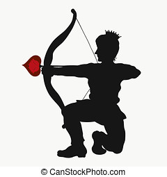 Prince kneeling, ready to make a shot from the bow, an arrow with a heart and a rose