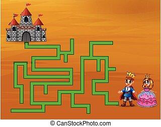 prince, leur, jeu, manière, labyrinthe, château, trouver