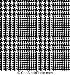Illustration of Prince of Wales weave tweed or tartan shadow check fabric with seamless repeat background pattern in black and white