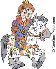 Prince on the horse - Vector Illustration of smiling prince...
