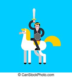 Prince on white horse. Kings son on horseback. Vector illustration