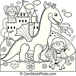 Prince protecting a beautiful princess from the evil dragon. Vector black and white coloring page.