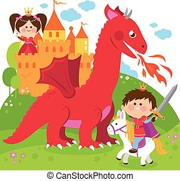 Prince protecting a beautiful princess from the evil dragon