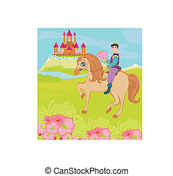 Prince riding a horse to the princess