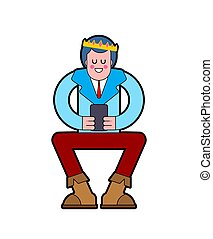 Prince sits isolated. Young King and Phone. Template for design in royal style. Vector illustration