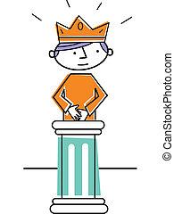 Prince standing on pedestal