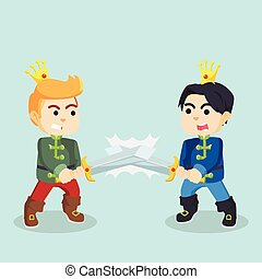prince with sword fighting each