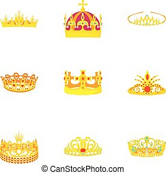 Princely icons set, cartoon style