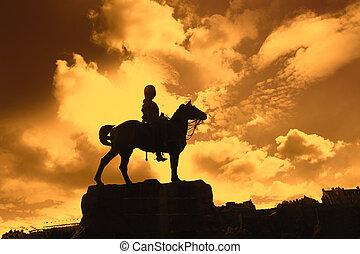 princes, guerre boer, rue, coucher soleil, monument, jardins