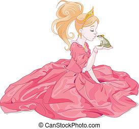 princesa, beijando, rã