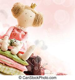 princesa, boneca, com, têxtil, e, cosendo, acessório, -, fundo