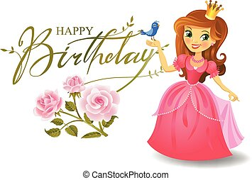 princesa, card., feliz aniversário, saudação