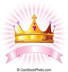 princesa, cartão, coroa