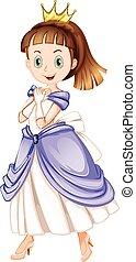 princesa, con, carita feliz