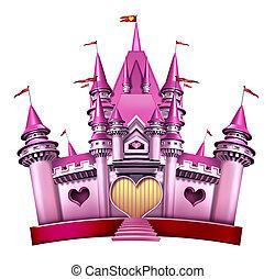 princesa, cor-de-rosa, castelo