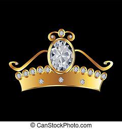 princesa, coroa, em, ouro, e, diamantes