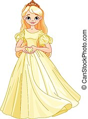 princesa, faz, forma coração