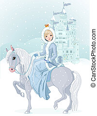 princesa, montando, cavalo, em, inverno