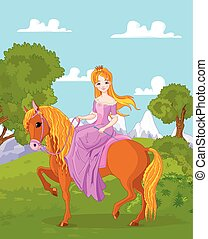 princesa, montando, cavalo