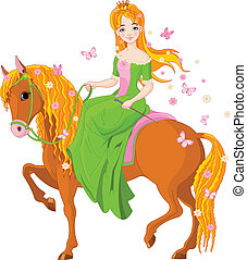 princesa, montando, horse., primavera