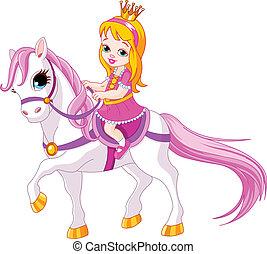 princesa pequeña, en, caballo