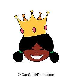 princesa, pequeno, feliz, cabeça, africano