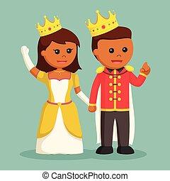 princesa, príncipe, llevar a cabo la mano