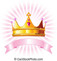 princesa, tarjeta, corona