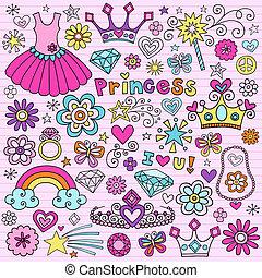princesa, tiara, cuaderno, doodles, conjunto