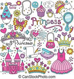 princesa, tiara, fairytale, vector, conjunto