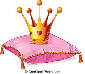 princesa, travesseiro, coroa, cor-de-rosa