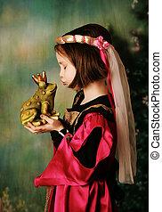 princesa, y, el, príncipe de rana