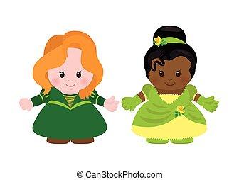 princesas, estilo, dois, caricatura