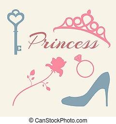 princess., 平ら, セット, アイコン