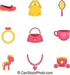 Princess accessories icon set, flat style