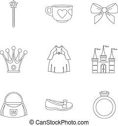 Princess accessories icon set, outline style