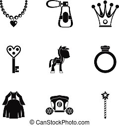 Princess accessories icon set, simple style