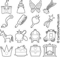 Princess accessories icons set, outline style