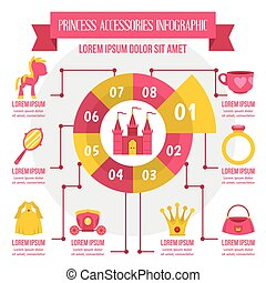Princess accessories infographic, flat style